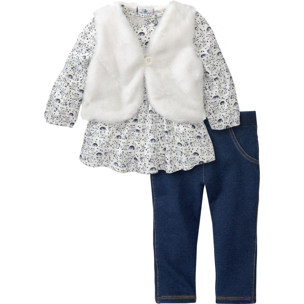 Baby Shirt, Plüschweste und Jeggings