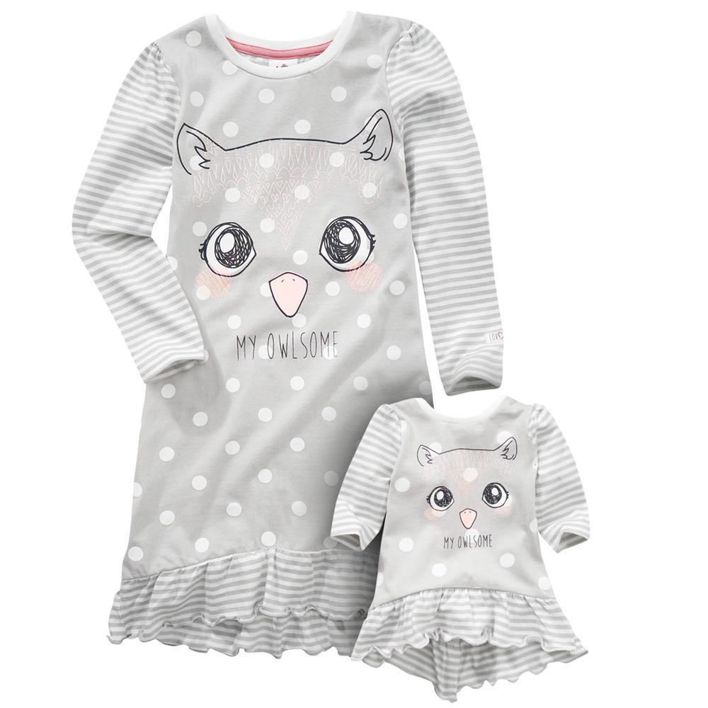 Mädchen Nachthemd mit Puppenshirt