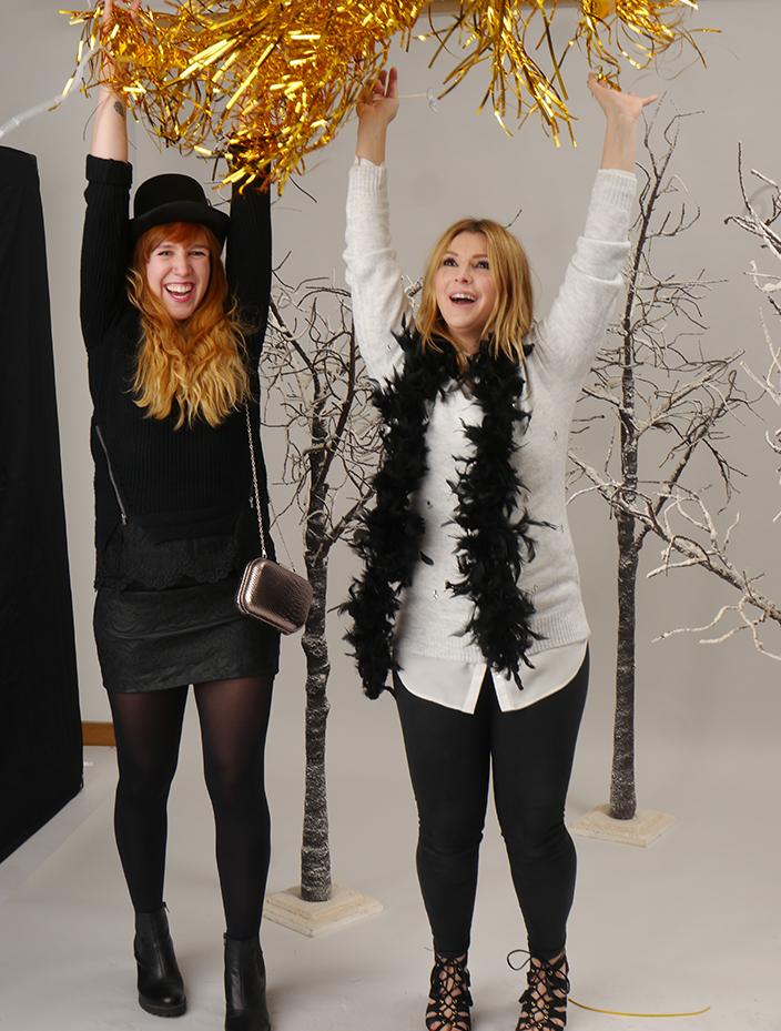 Partyoutfit in Schwarz und Grau