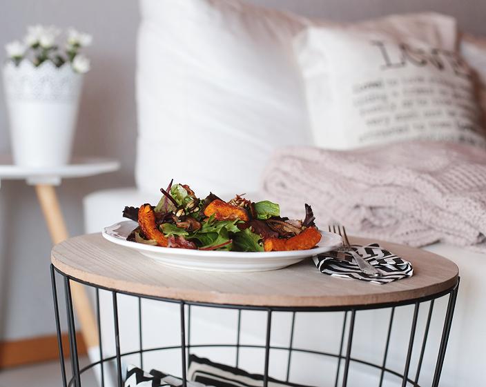 Herbstsalat, Salat mit Kürbis, Herbstrezept, Rezept, Salat, Bacon-Chips