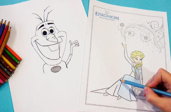 Disney-Figuren malen, Anna, Elsa, Eiskönigin, Malvorlage, Frozen