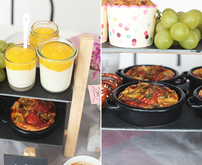 Brunch-Rezept, süß, herzhaft, Dessert, brunchen, Rezept, Kokos-Joghurt mit Mangopüree, mediterrane Tomaten-Tartelettes, Sauerkirschmuffins mit Streuselkruste