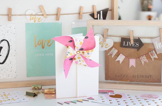 , Karten selber machen, Geburtstagskarte basteln, Karte basteln, Glückwunschkarte basteln, Glückwunschkarte mit Windrad, Wimpel-Glückwunschkarte