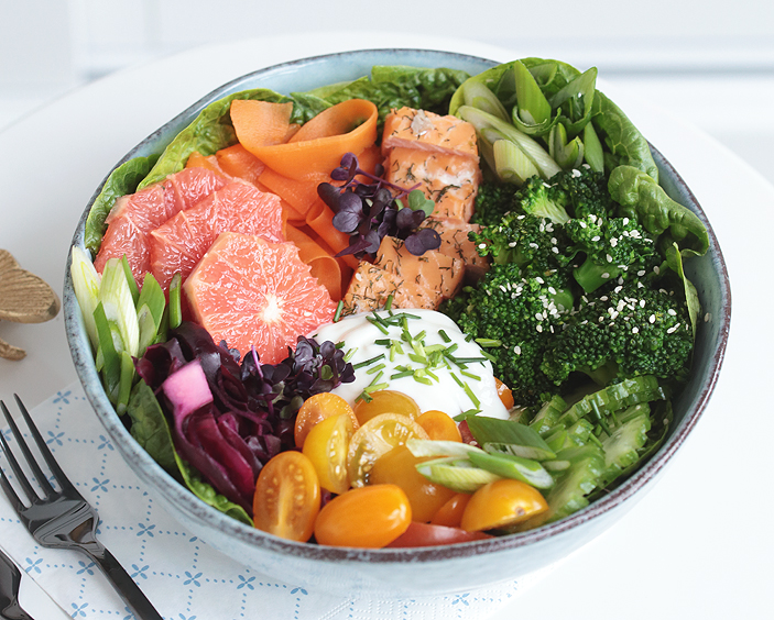 Rezept, Salatbowl, Stremllachs, Salat mit Lachs