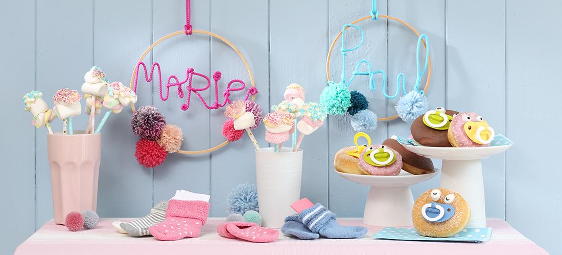 Babyshower, Geburt, Schwangerschaft. Babypinkeln, Babyfeier, Willkommensparty, Basteln, Baby-Buffet, Schnuller-Donuts, Babygeschenke, Ernsting's family