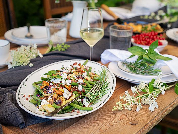 Bohnensalat, Kartoffeln, Speck, Schafskäse, Rezept Österreich, Menü