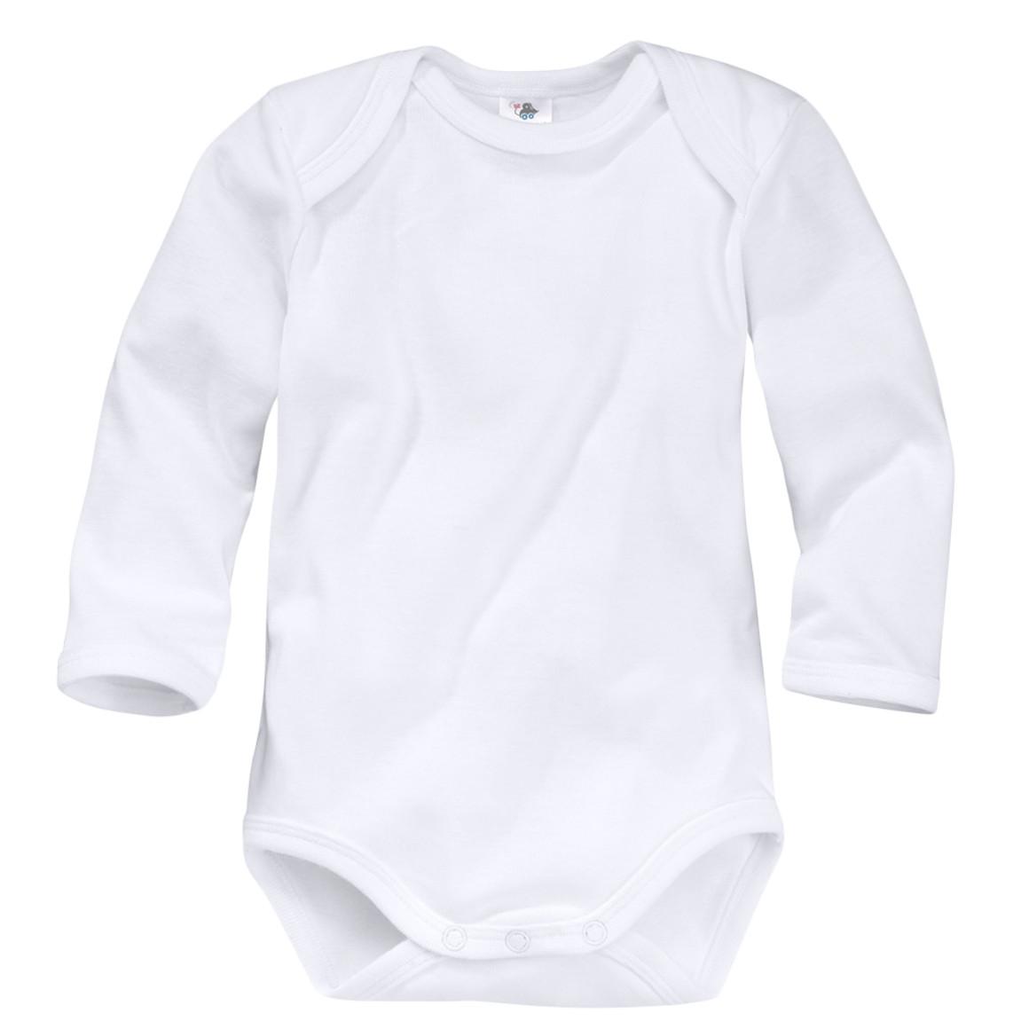 Baby Langarmbody im klassischen Weiß