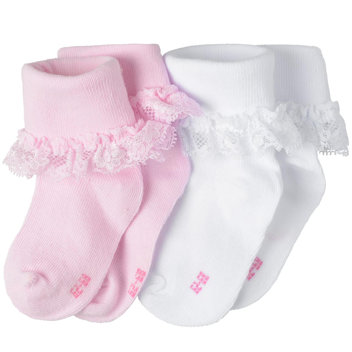 2 Paar Baby Socken mit Rüschen
