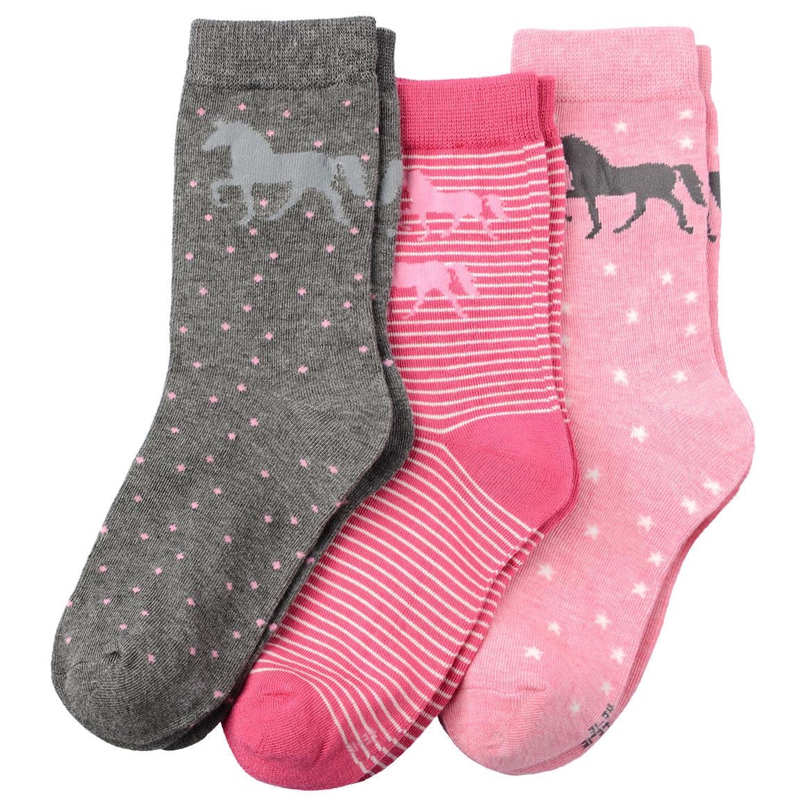 3 Paar Mädchen Socken mit Pferde Motiv
