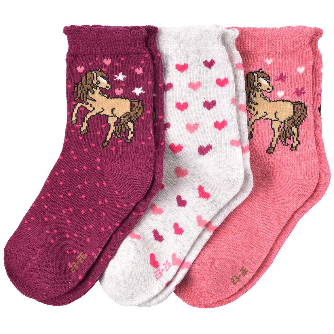 Minigirlaccessoires - 3 Paar Mädchen Socken mit Pferde Motiv - Onlineshop Ernstings family