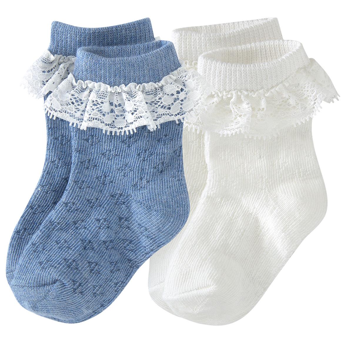 2 Paar Newborn Socken mit Rüsche