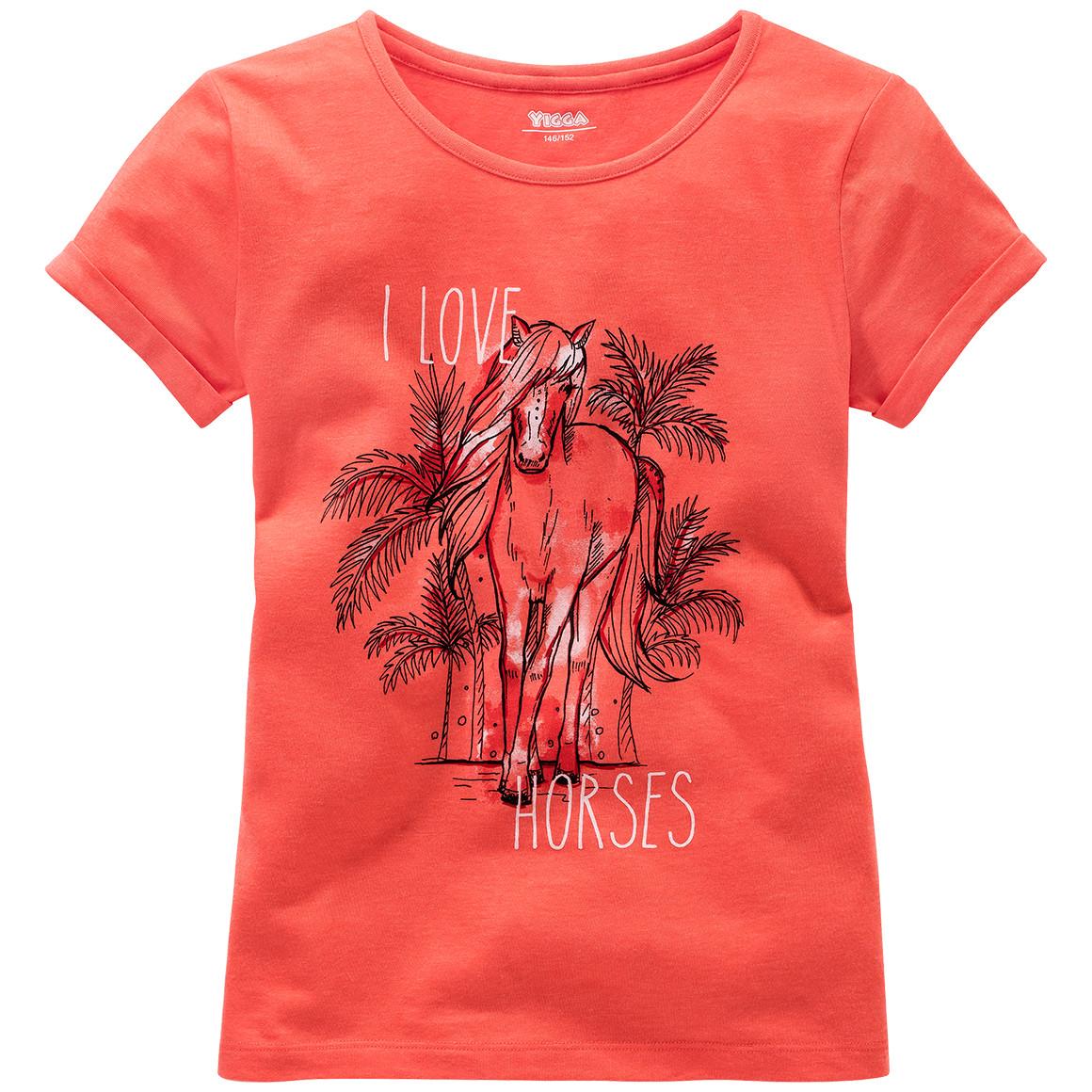 Mädchen T-Shirt mit Pferde Motiv
