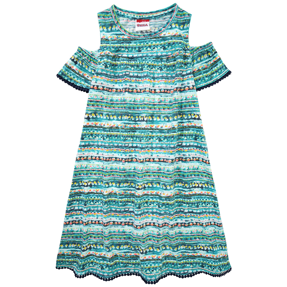 Mädchen Kleid mit Pom Pom Bordüre