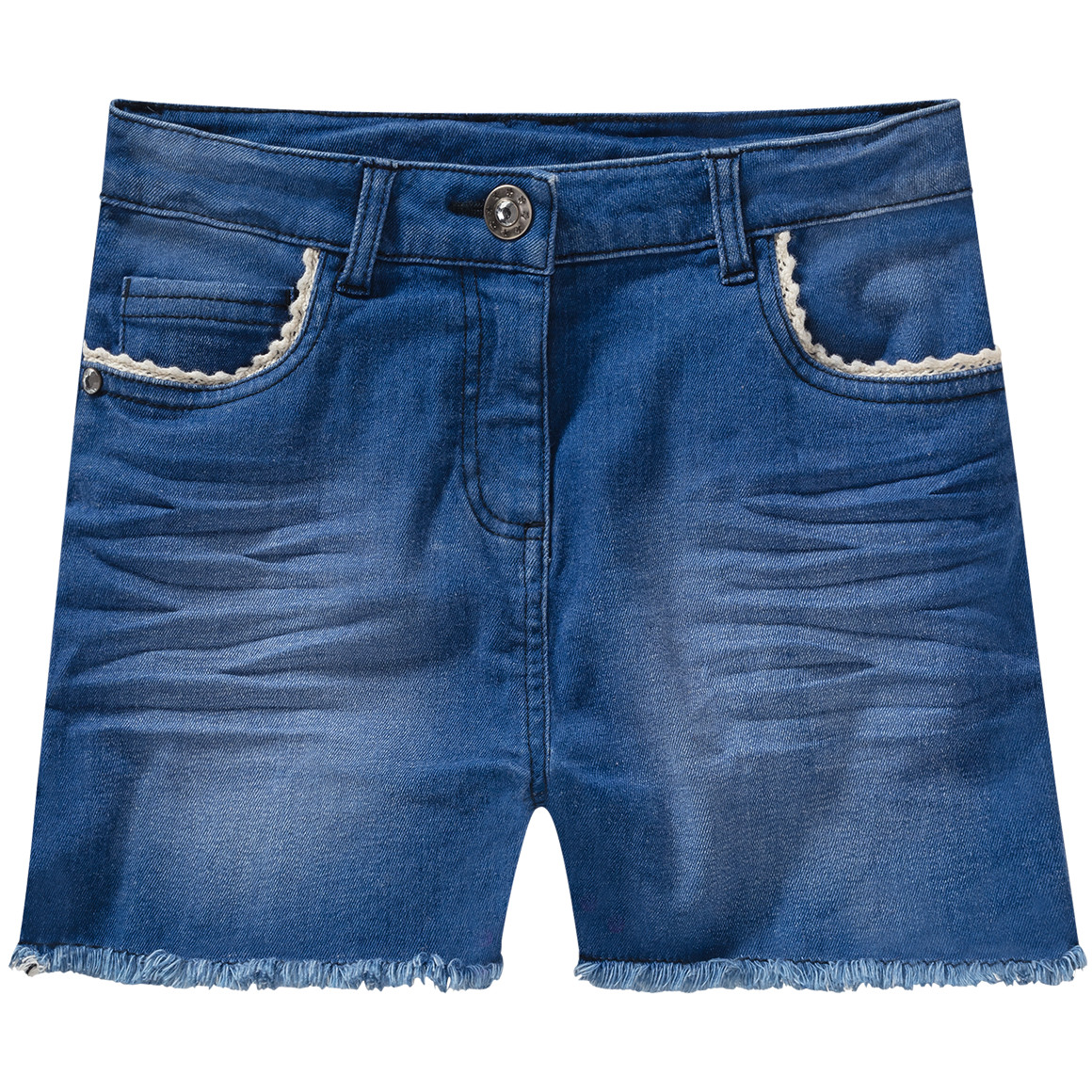 Mädchen Jeansshorts mit Häkelspitze