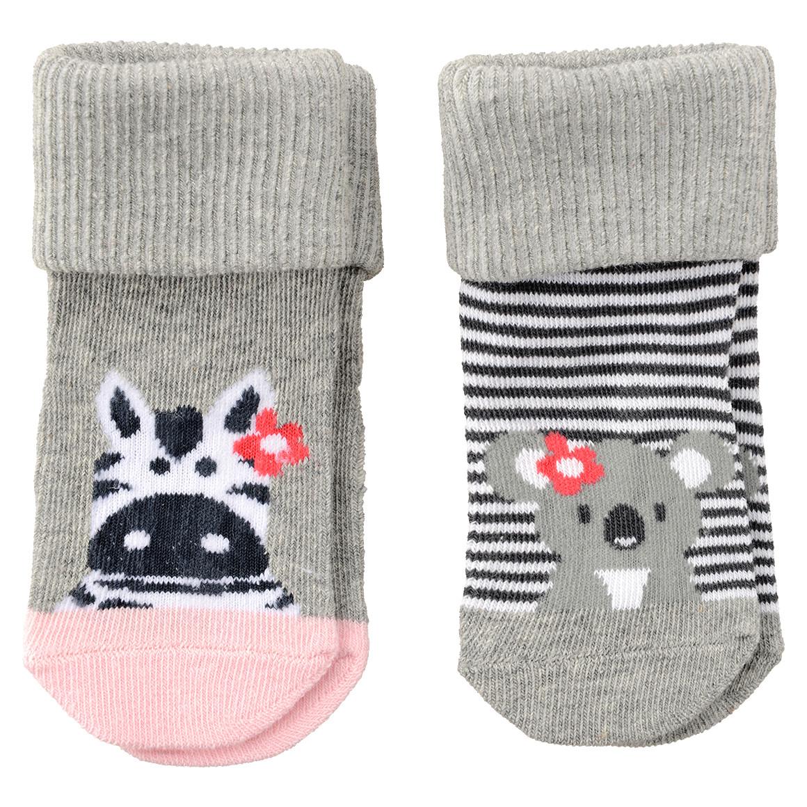 2 Paar Newborn Socken mit Umschlagsbündchen