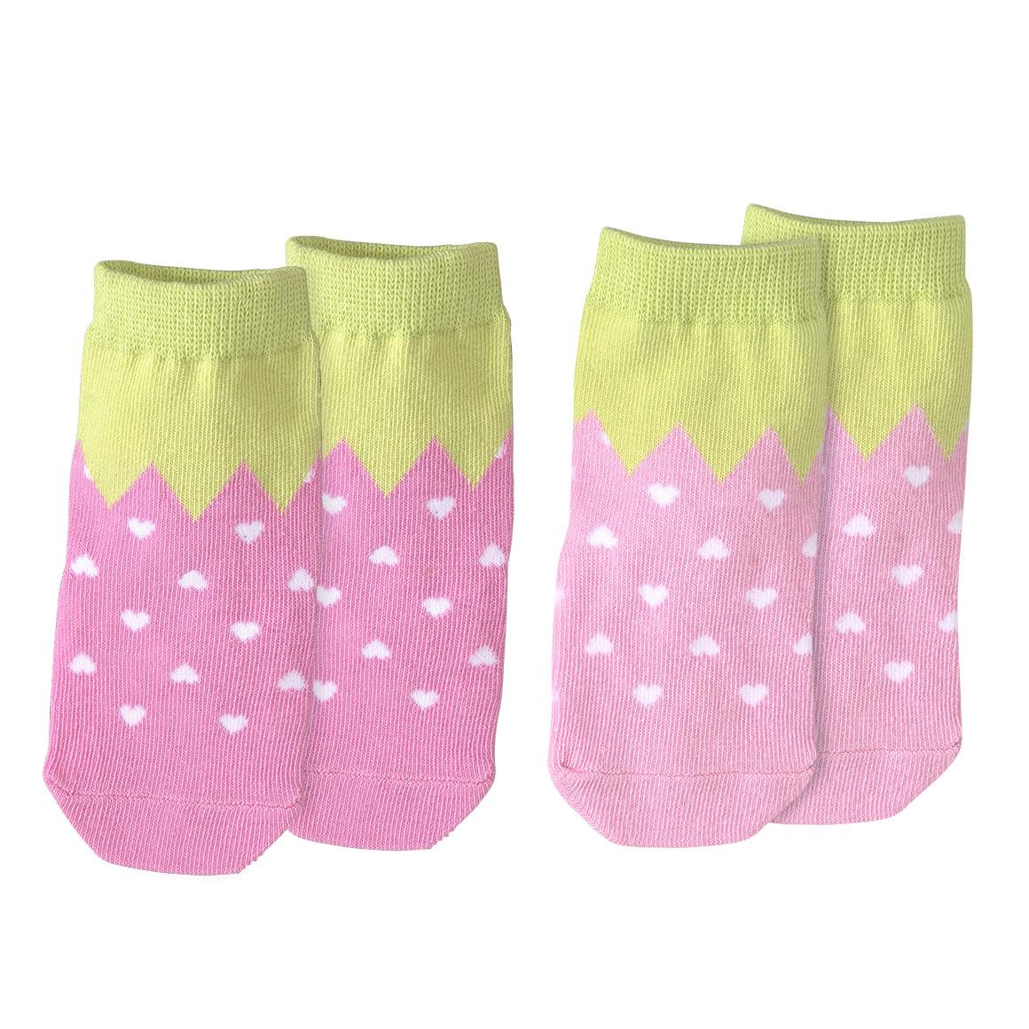 2 Paar Baby Socken im Erdbeer Design
