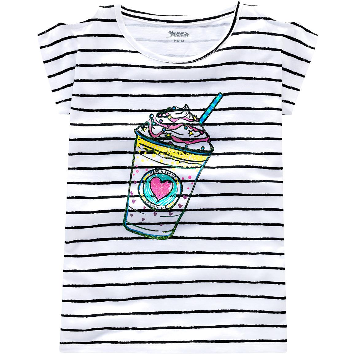 Mädchen T-Shirt mit Streifen Look