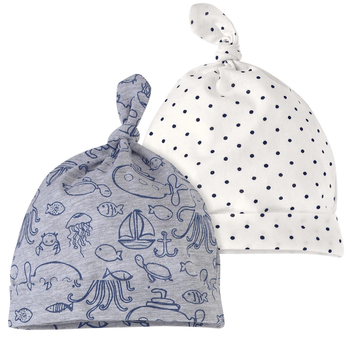 2 Baby Zipfelmützen in verschiedenen Designs