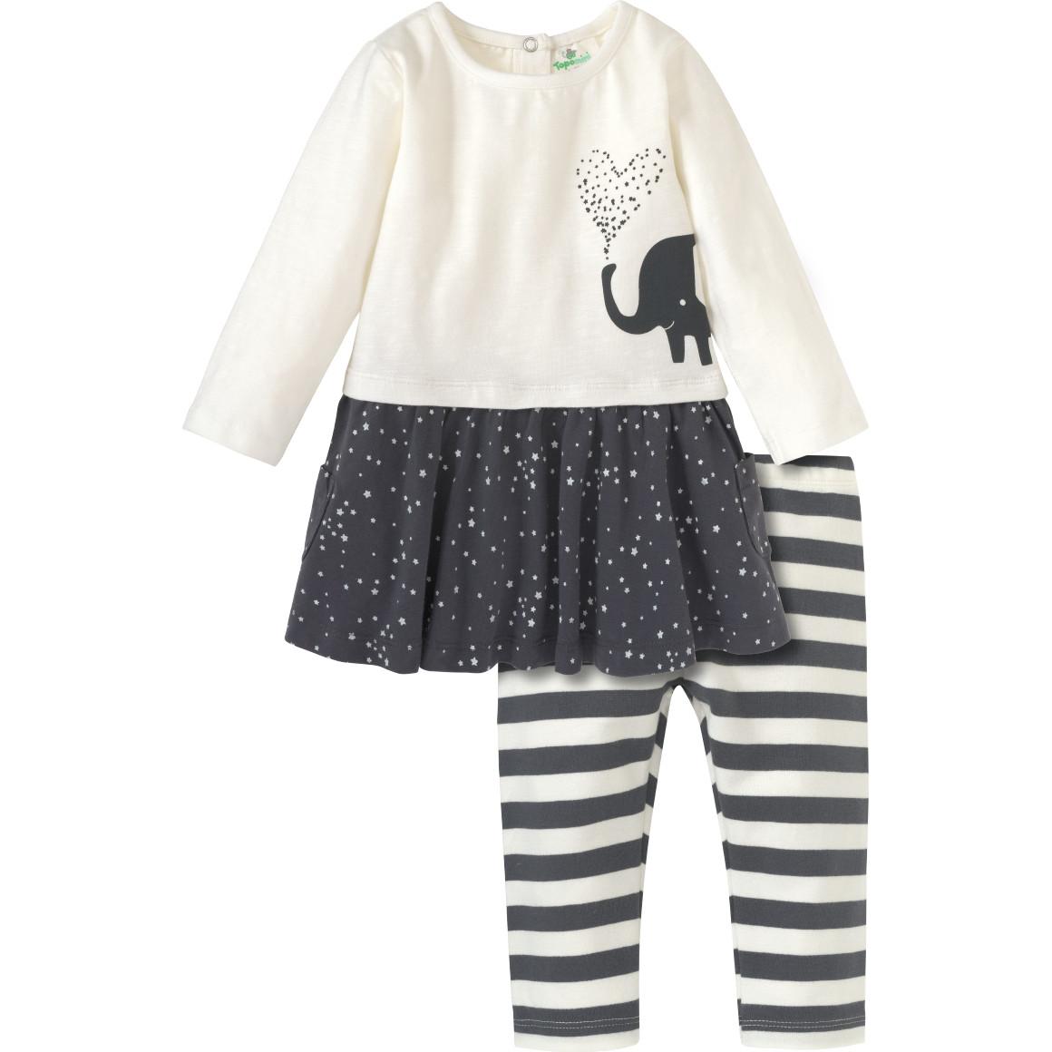 Baby Kleid und Leggings mit Bio Baumwolle