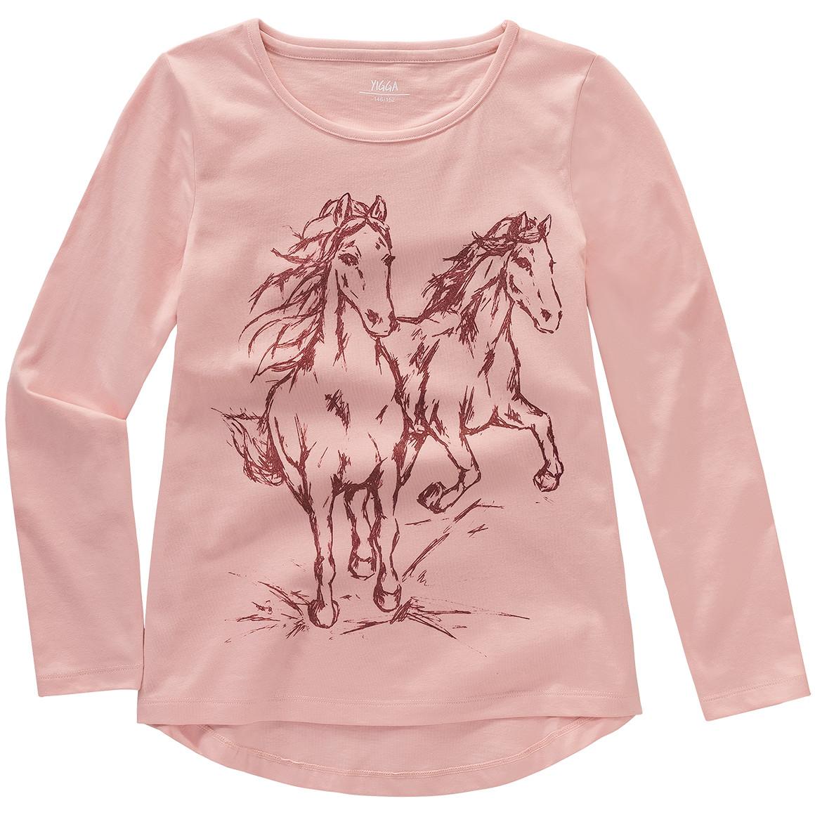 Mädchen Langarmshirt mit Pferde Print