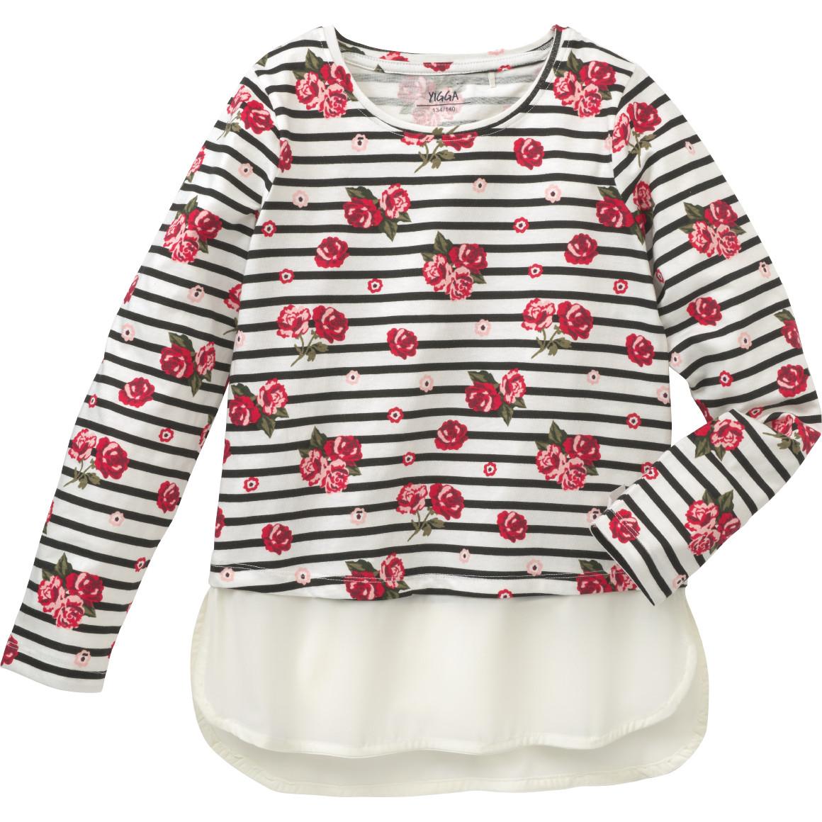 Mädchen Langarmshirt mit Rosen Print