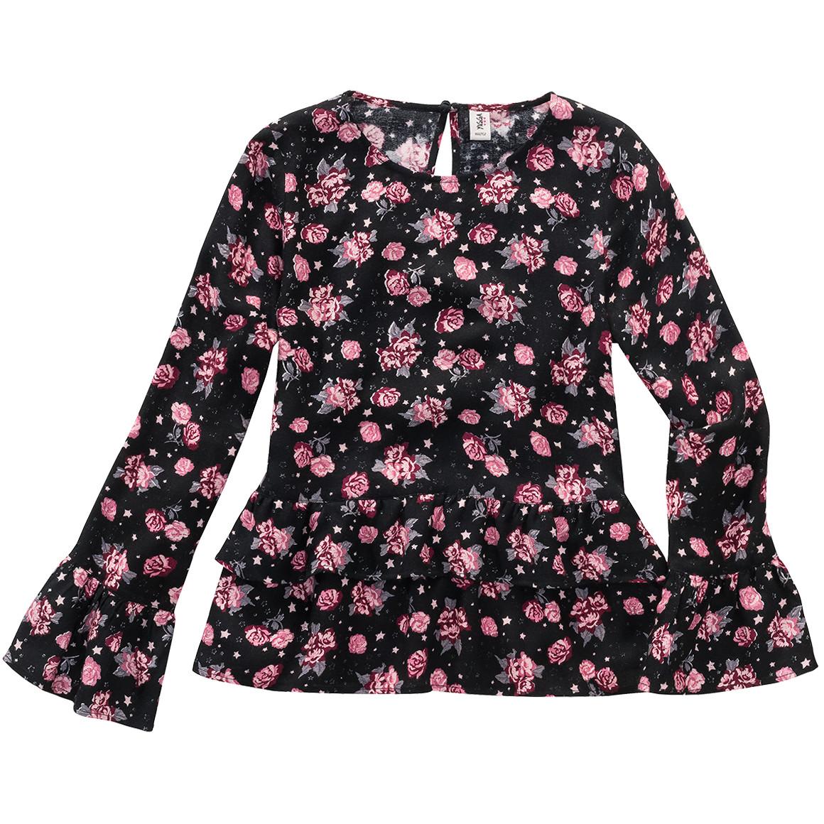 Mädchen Bluse mit Rosen bedruckt