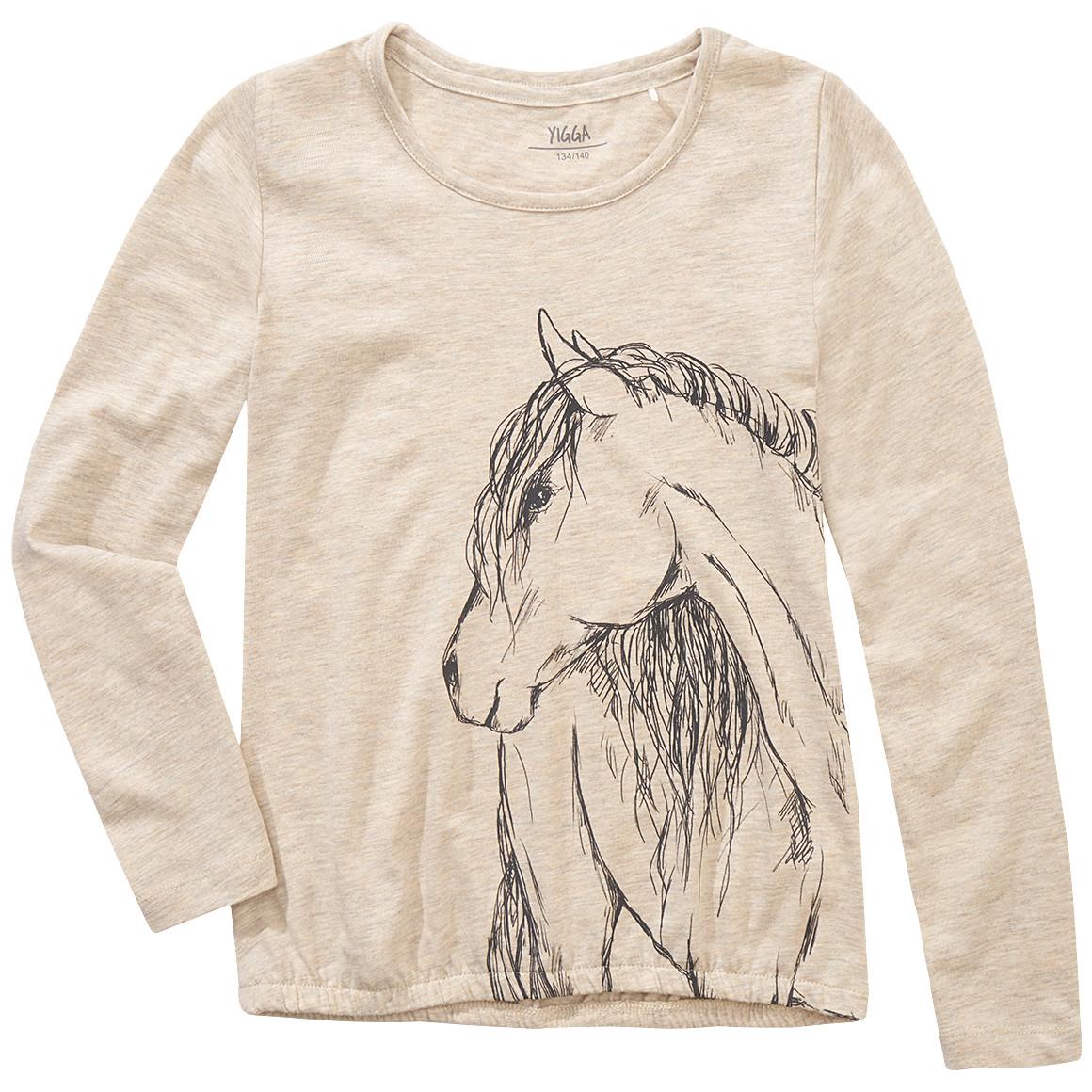 Mädchen Langarmshirt mit Pferde Zeichnung