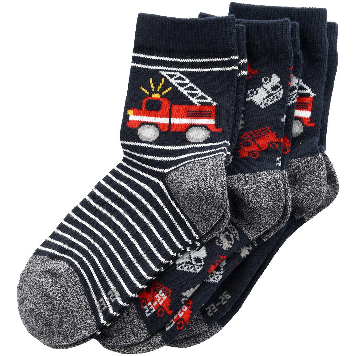 3 Paar Jungen Socken mit Feuerwehrautos