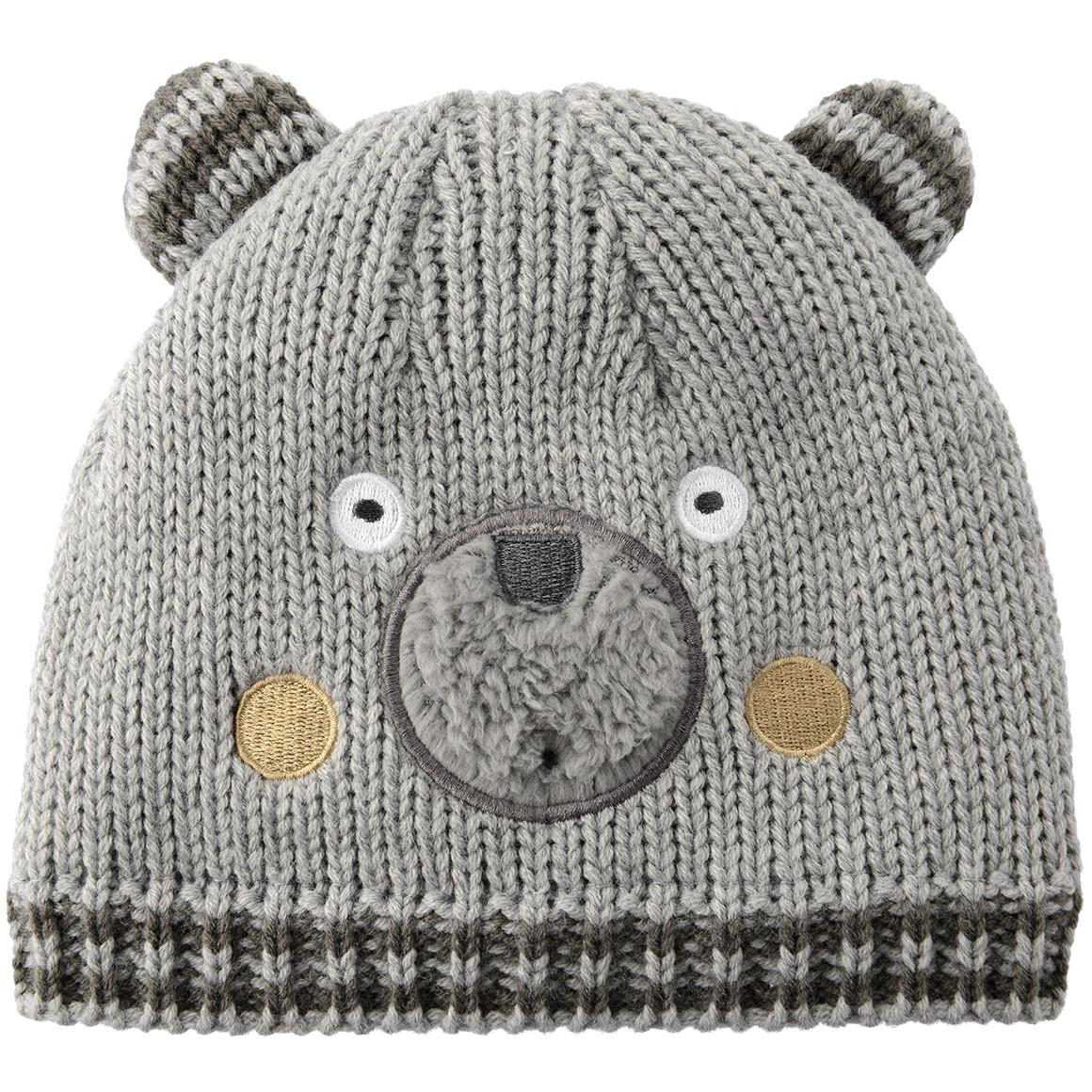 Baby Strickmütze mit Bären Gesicht