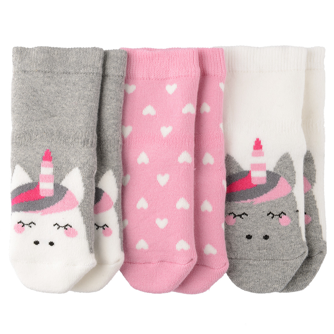 3 Paar Baby Socken mit Einhorn Motiv