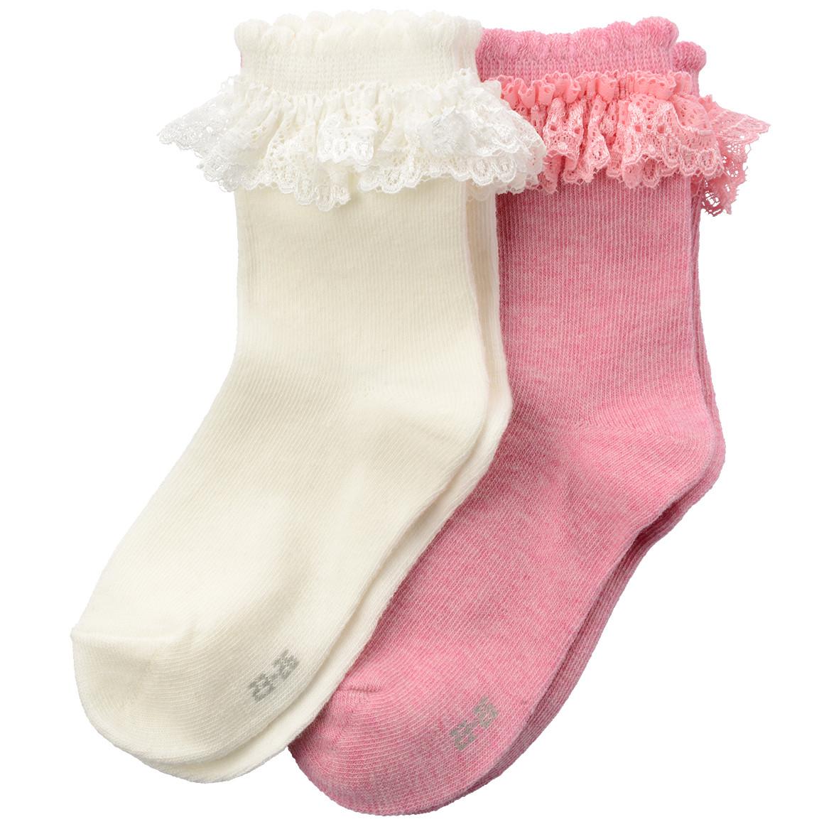 2 Paar Mädchen Socken mit Spitze