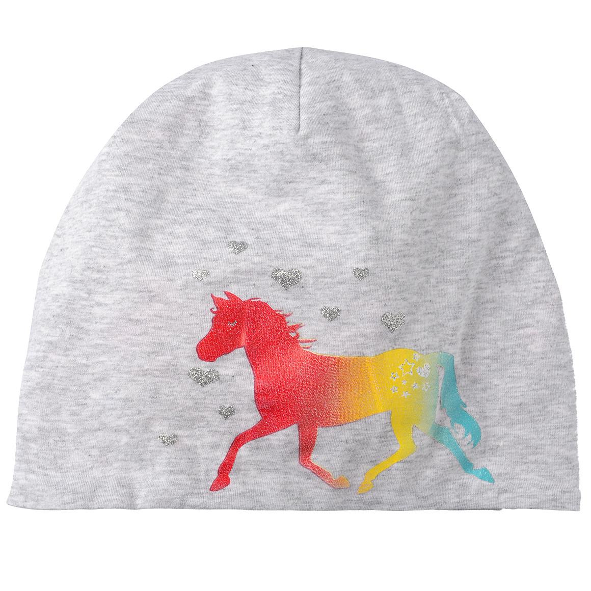 Mädchen Wendemütze mit Pferde Motiv