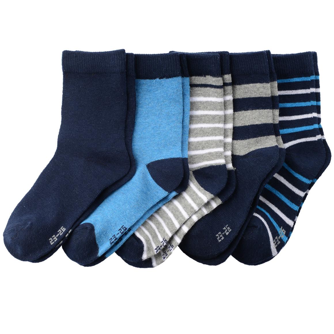 5 Paar Jungen Socken in verschiedenen Designs