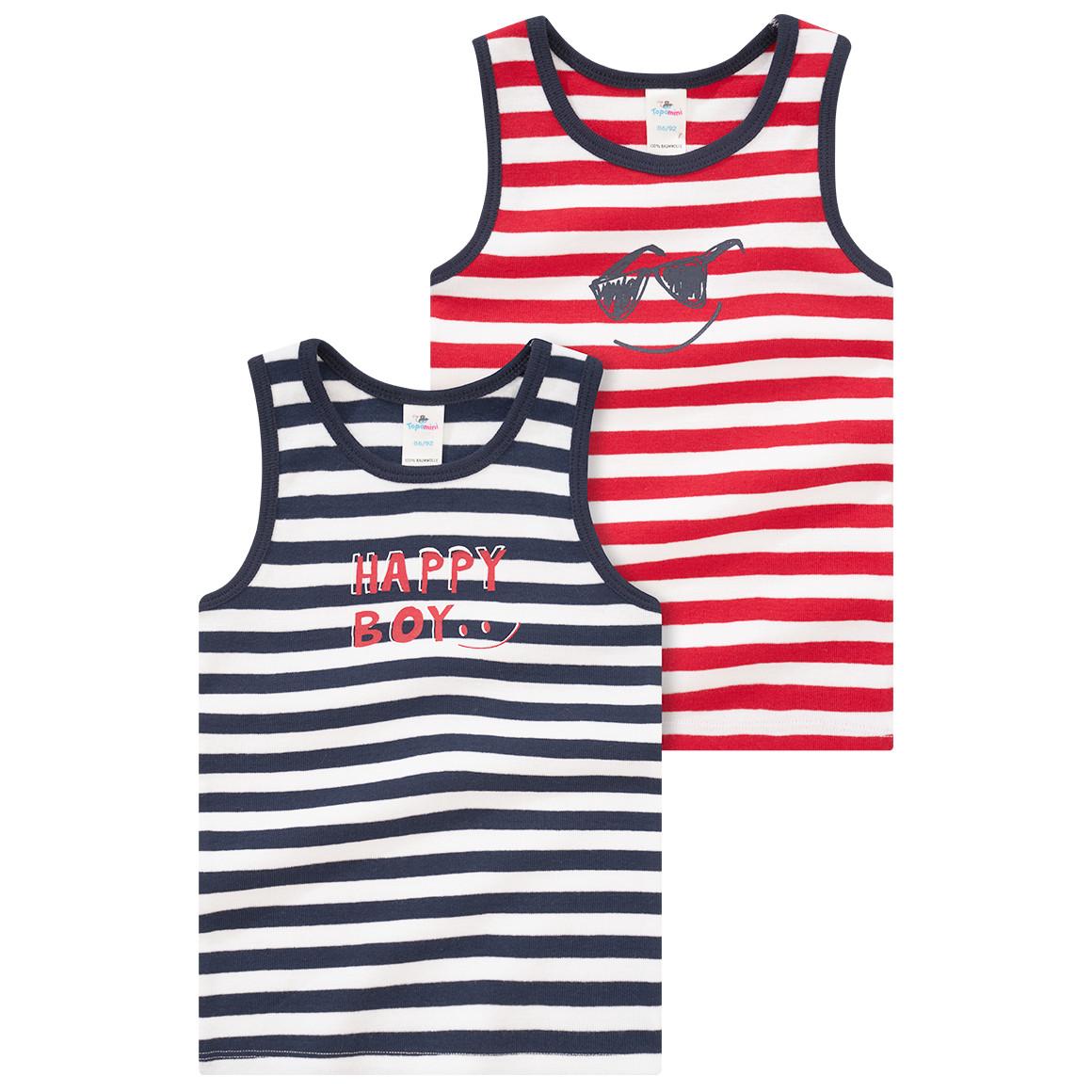 2 Baby Unterhemden im Ringel Look