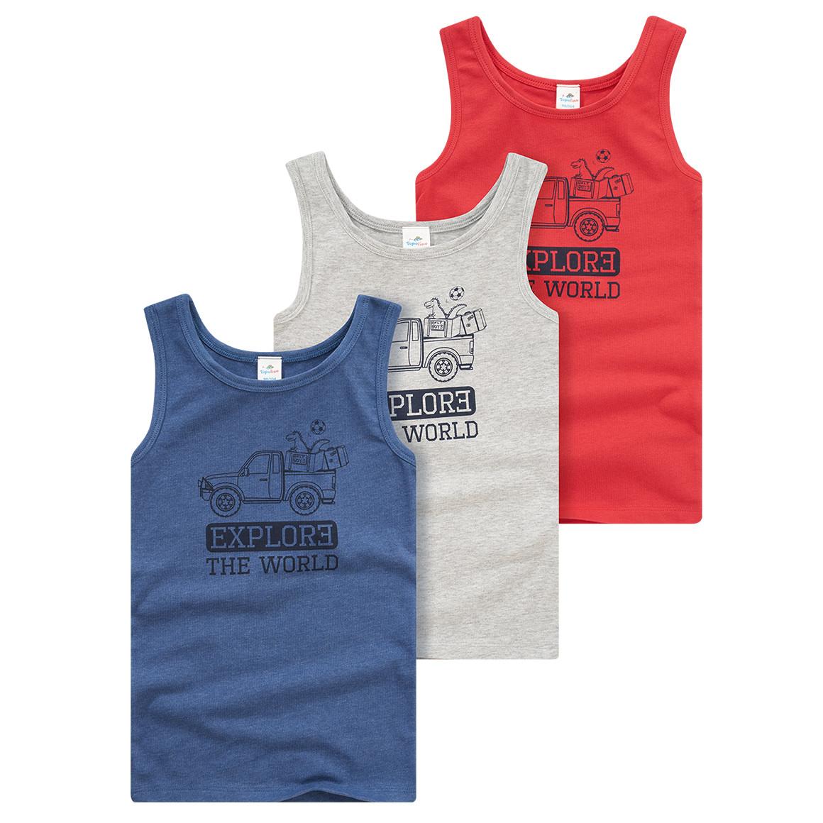 3 Jungen Unterhemden in verschiedenen Farben
