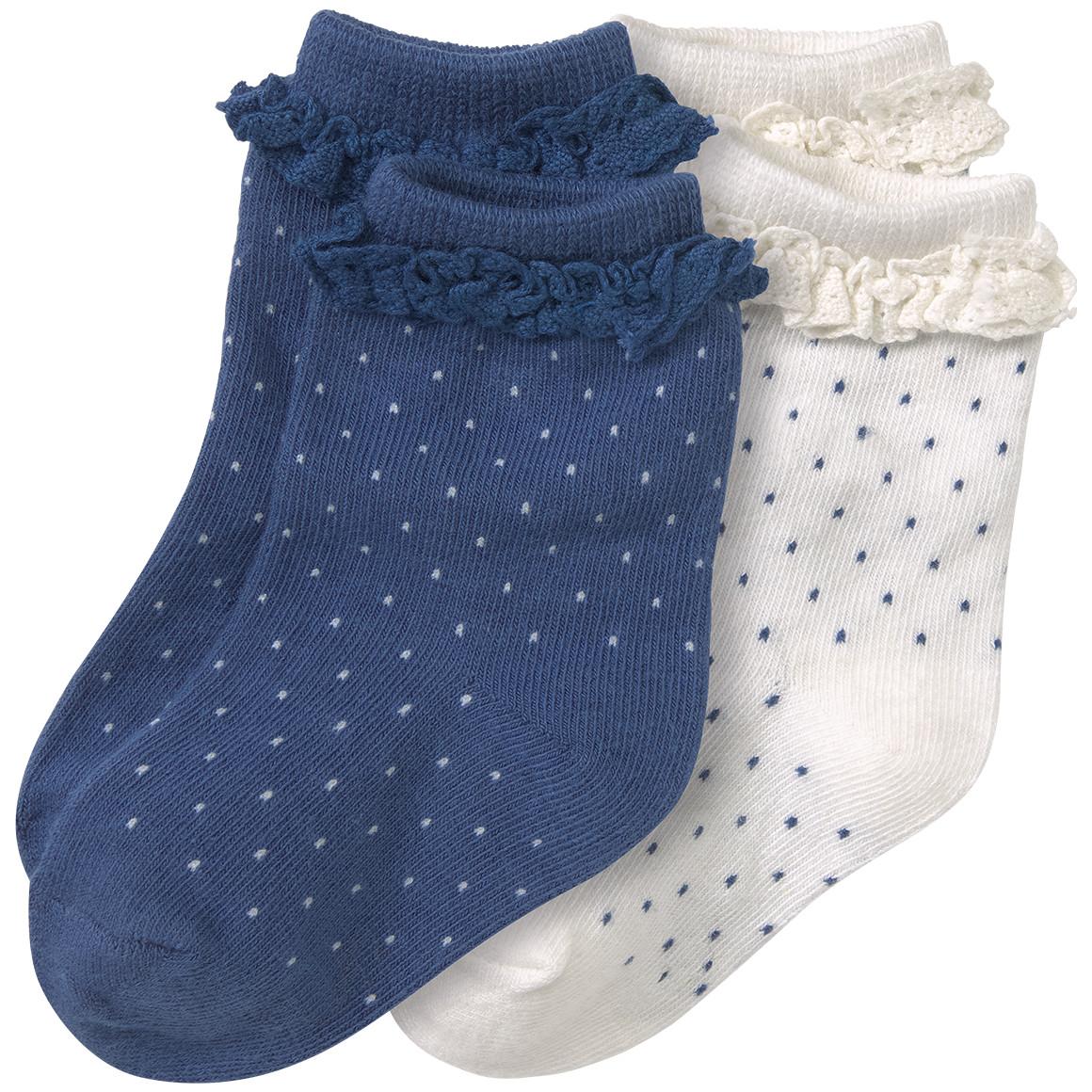 2 Paar Newborn Socken mit Rüschen
