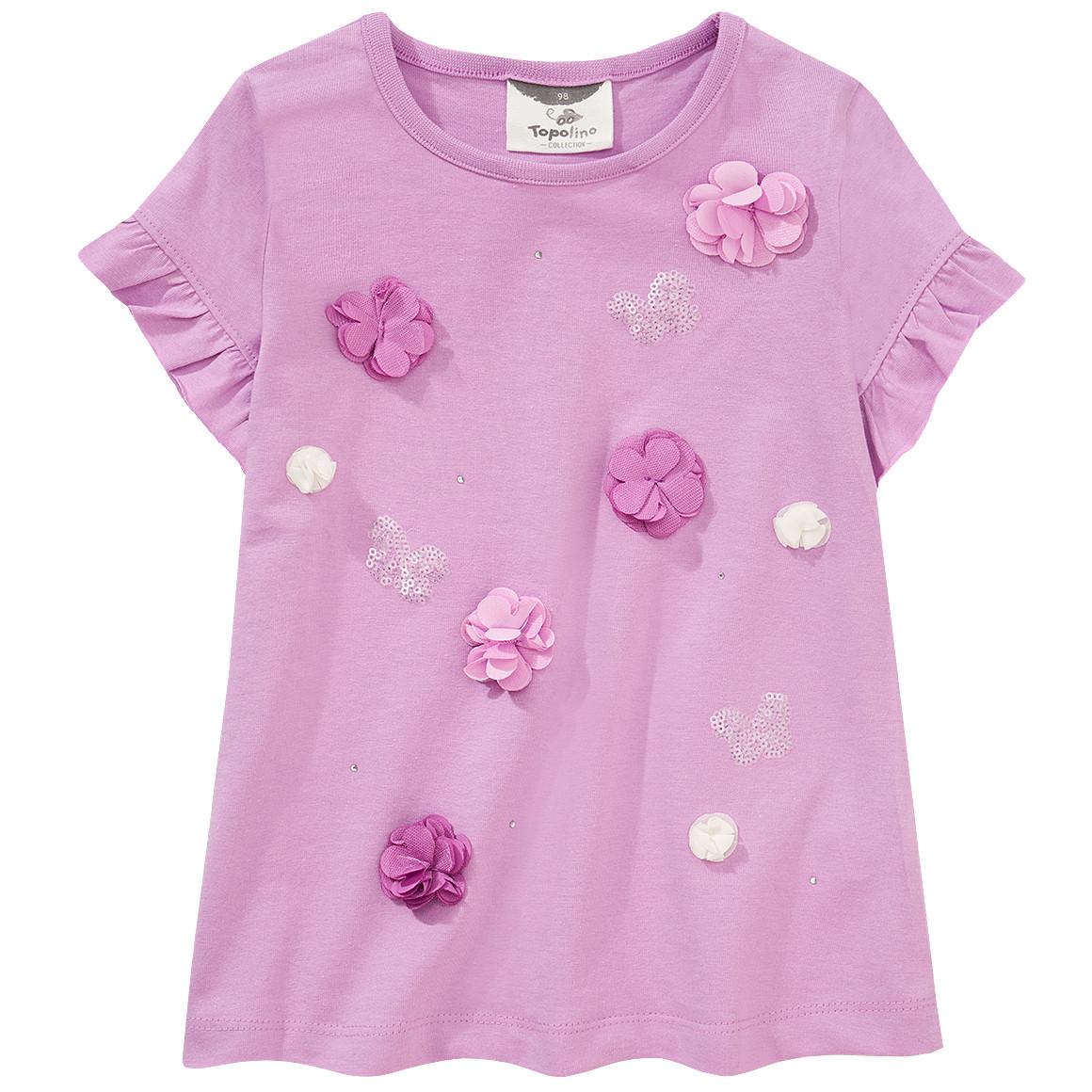 Mädchen T-Shirt mit Blüten Applikationen