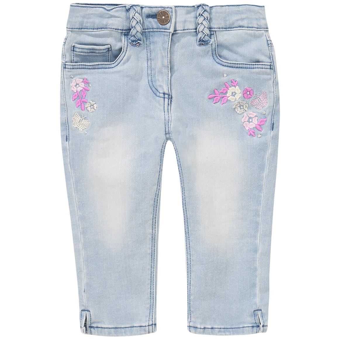 Mädchen Capri Jeans mit Blumen Stickerei