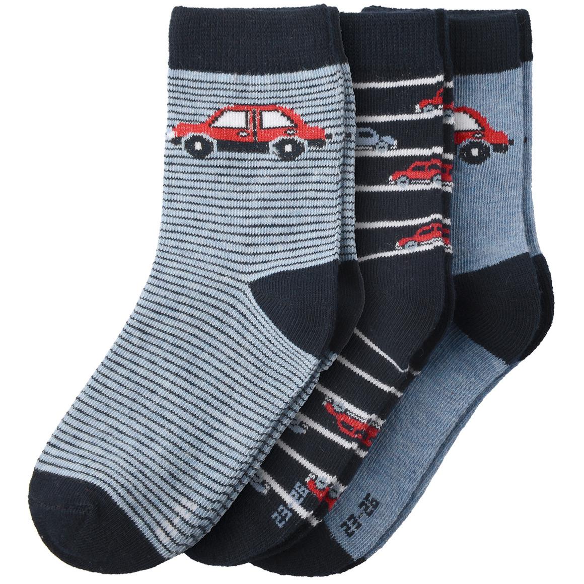 3 Paar Jungen Socken in verschiedenen Designs