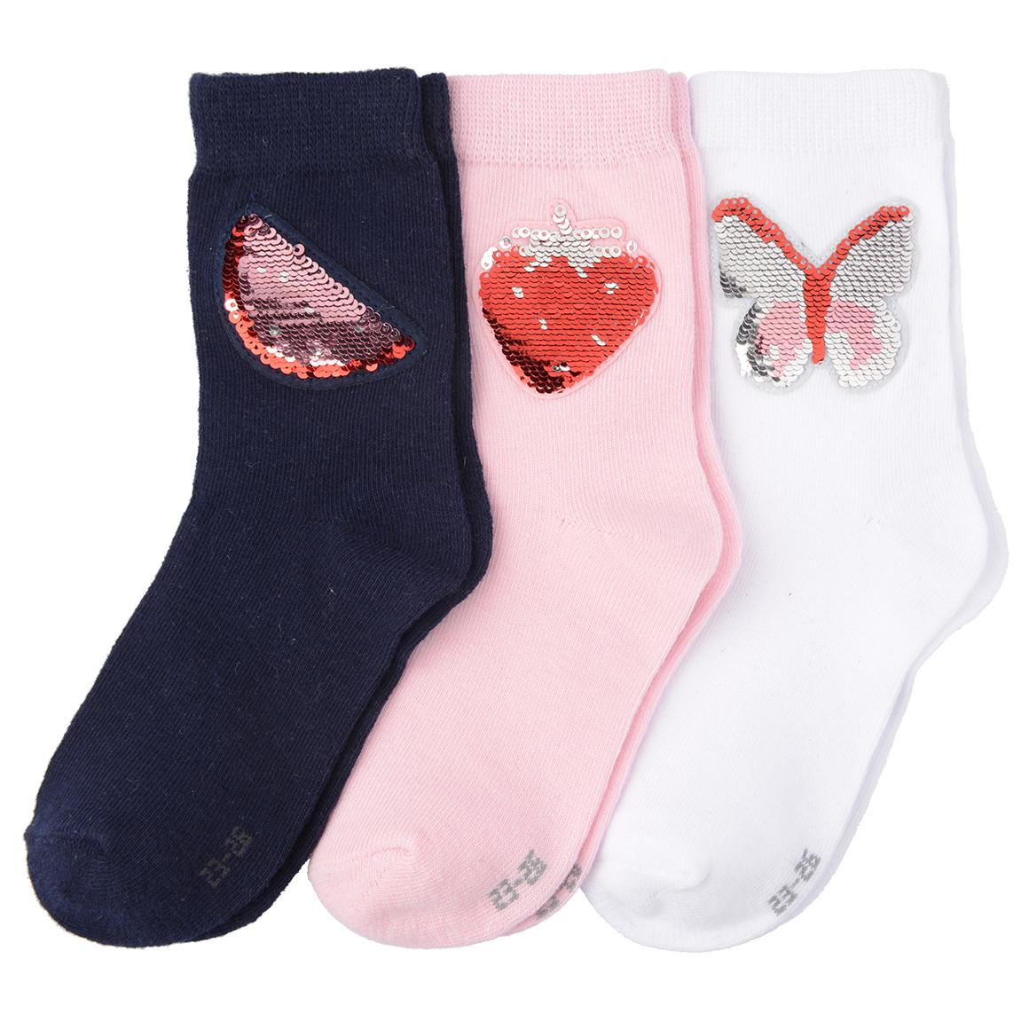 3 Paar Mädchen Socken mit Wendepailletten