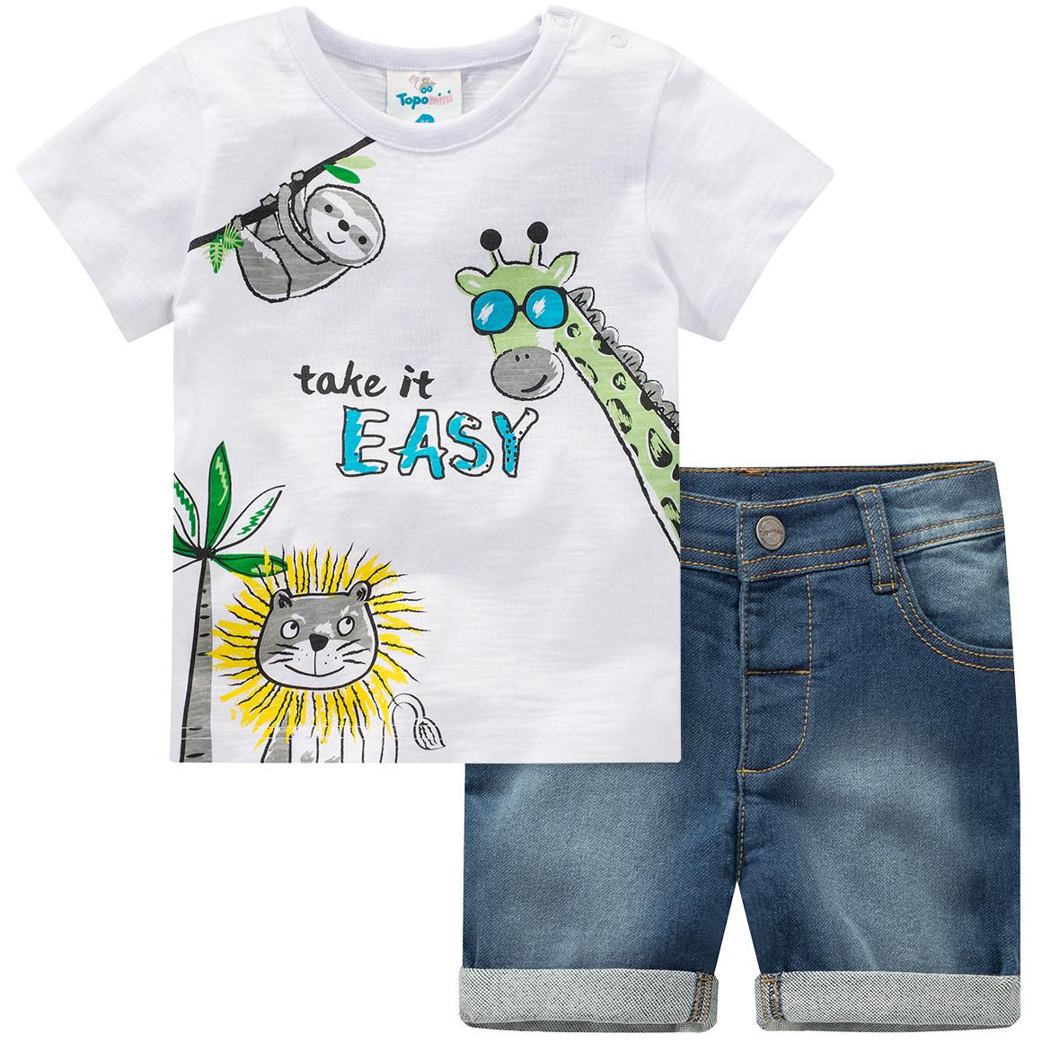 Baby T-Shirt und Jeansshorts im Set