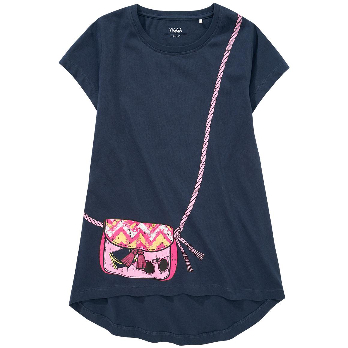 Mädchen T-Shirt mit Taschen Print