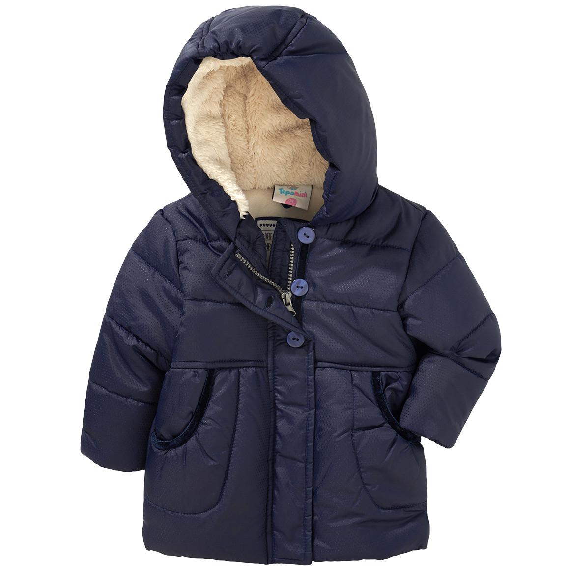 Baby Winterjacke mit Plüsch in der Kapuze