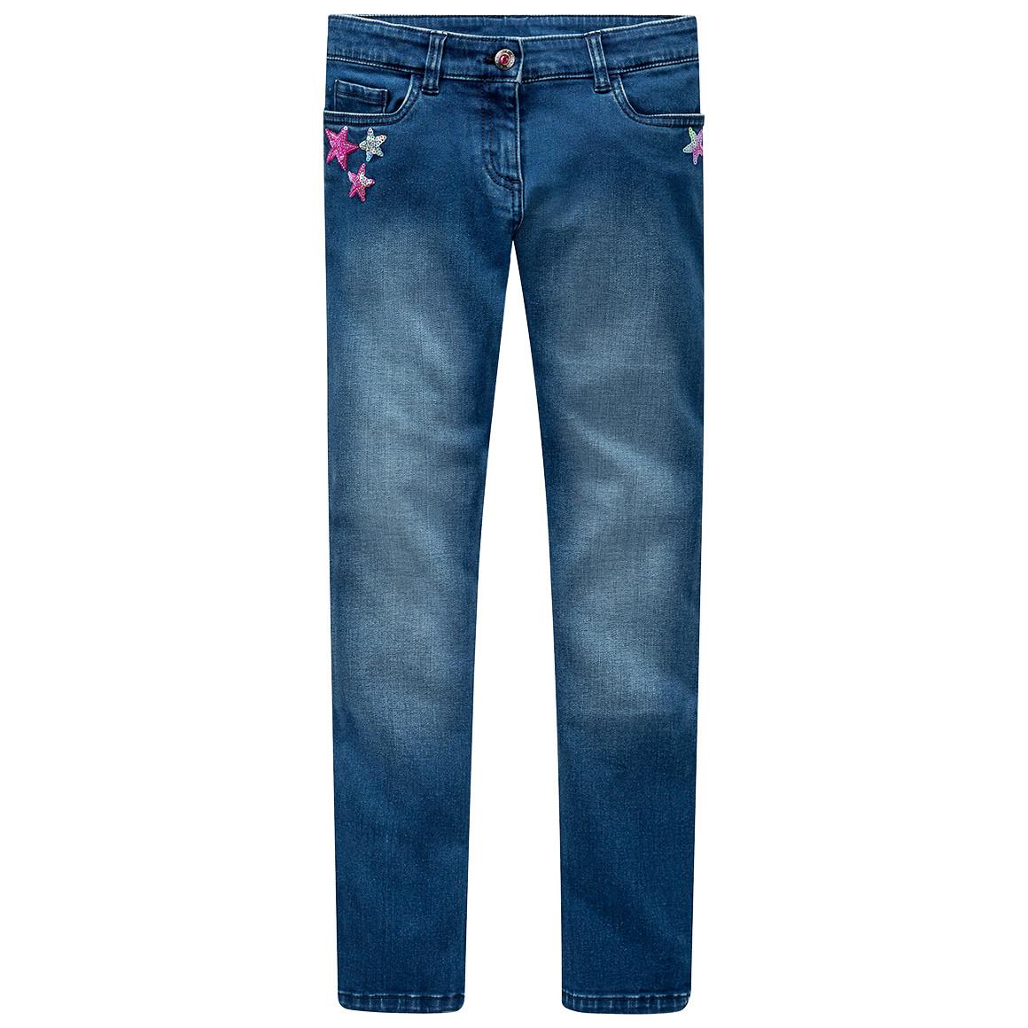 Mädchen Skinny Jeans mit Stern Pailletten