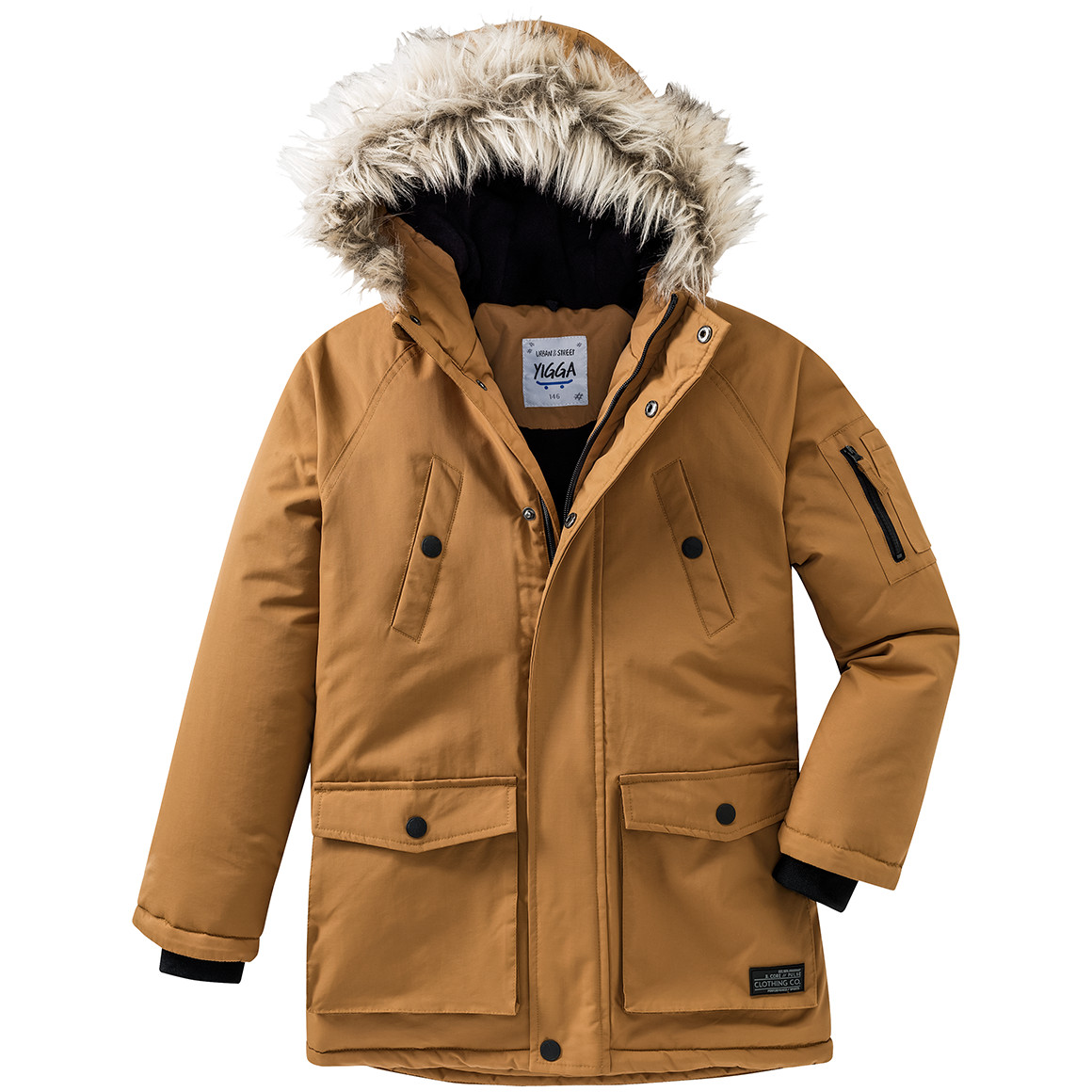 Boysjacken - Jungen Parka mit Fellimitat an der Kapuze - Onlineshop Ernstings family