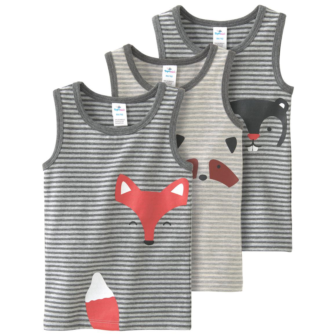 Babywaesche - 3 Baby Unterhemden mit tierischen Motiven - Onlineshop Ernstings family