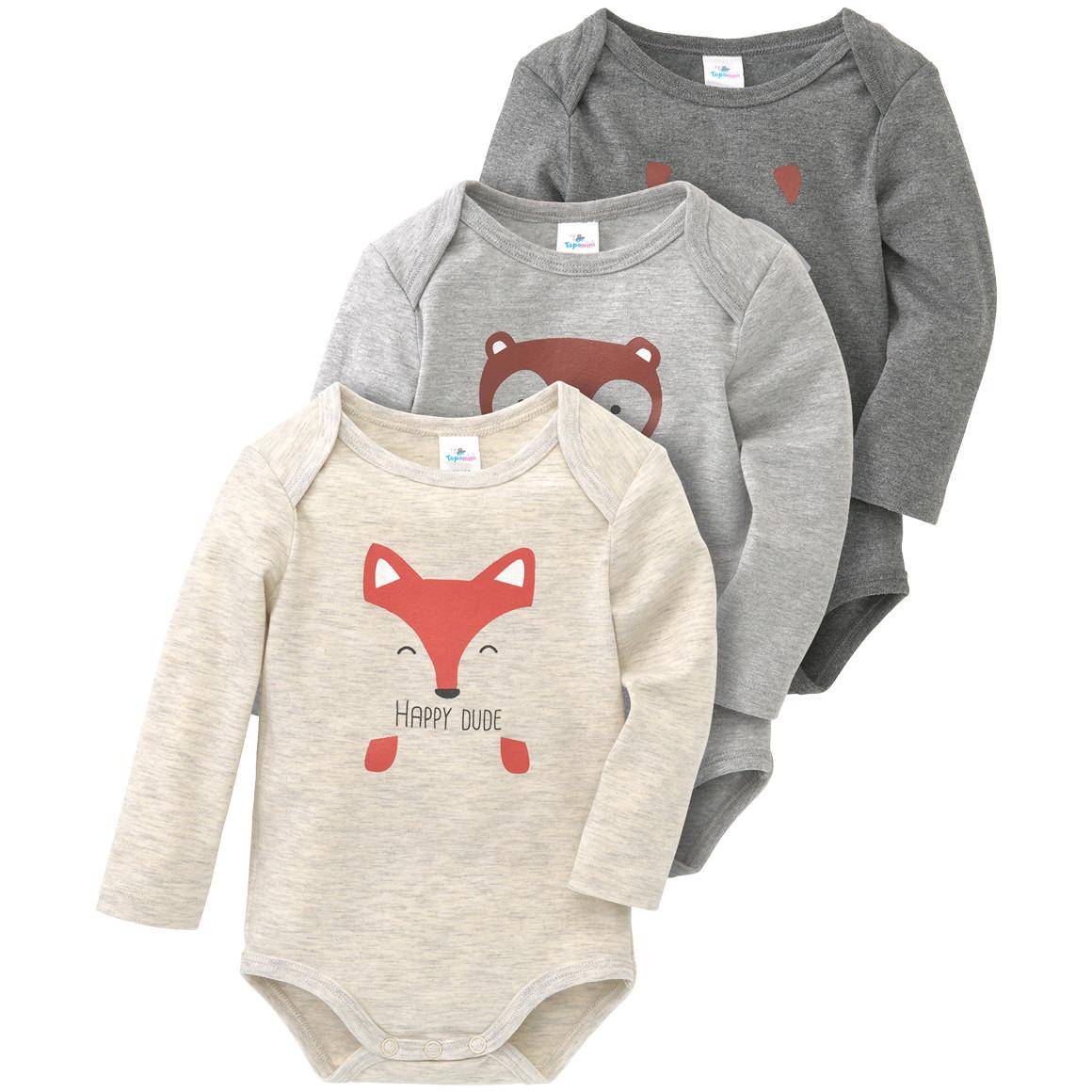 Babywaesche - 3 Baby Langarmbodys in verschiedenen Dessins - Onlineshop Ernstings family