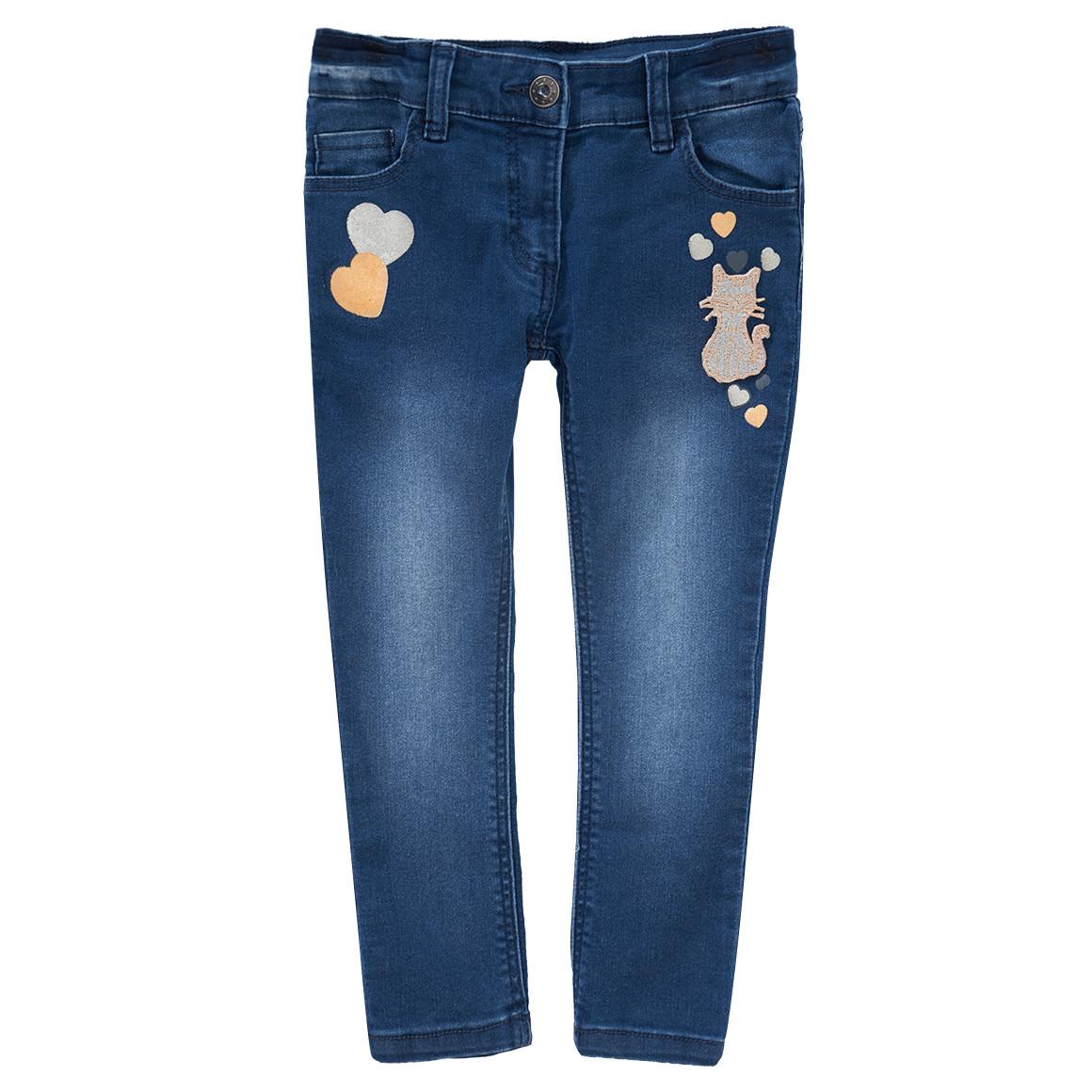 Minigirlhosen - Mädchen Skinny Jeans mit Katzen Applikation - Onlineshop Ernstings family