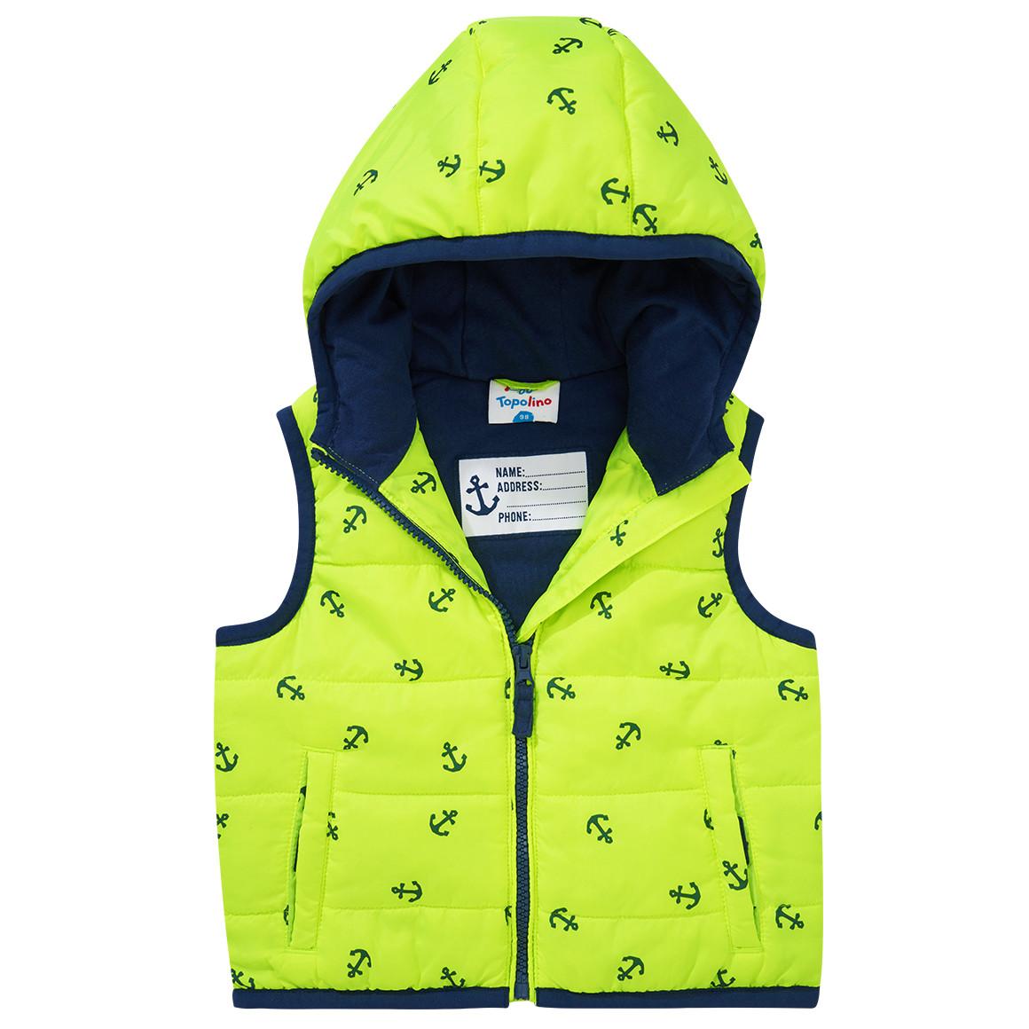 Kinder Jungen Weste Jacke Steppweste Reißverschluss Neon Gelb Schwarz