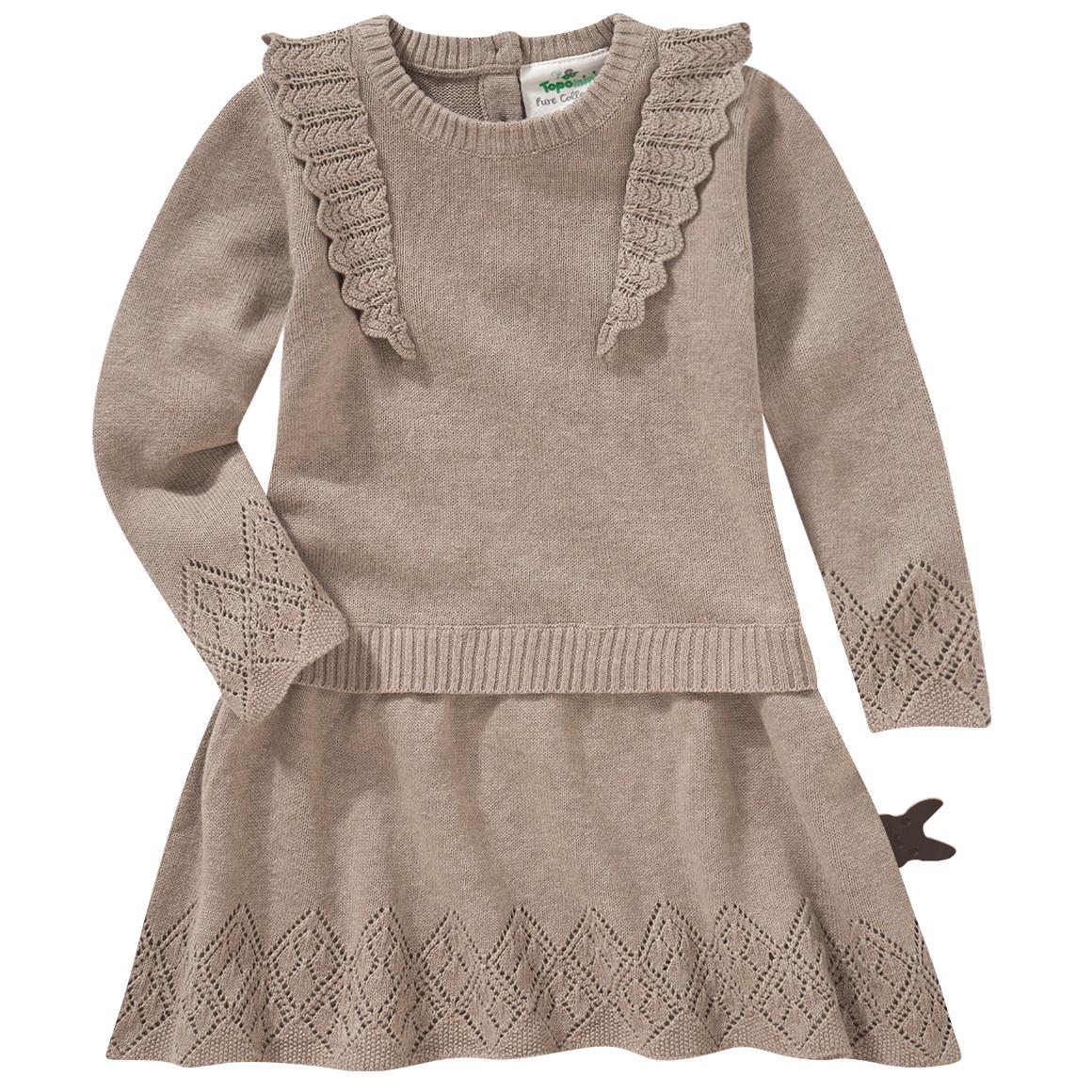 Babykleiderroecke - Newborn Strickkleid mit Lochstickerei - Onlineshop Ernstings family
